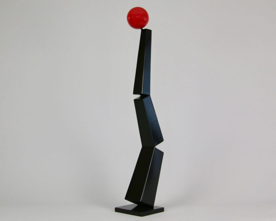 Sculpture by Amos Robinson This Way and That stainless steel contemporary art black and red