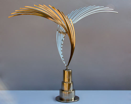 Sculpture by Amos Robinson Crosscurrents stainless steel contemporary art