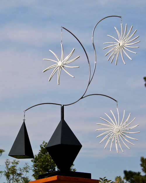 Kinetic art by Amos Robinson Snowfall stainless steel contemporary art
