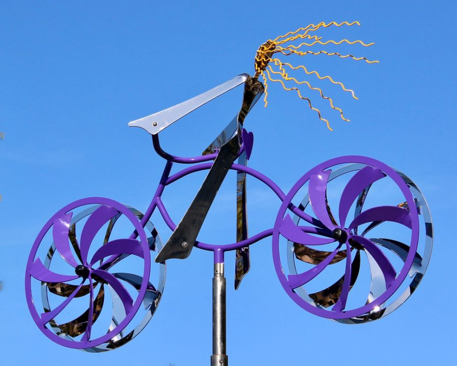 Kinetic art by Amos Robinson Love My Bike Series Mandy stainless steel contemporary art