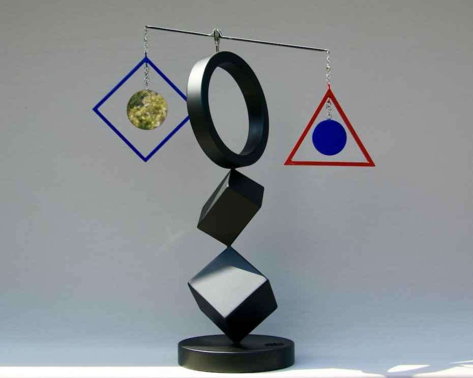 Kinetic art by Amos Robinson Neighbors sculpture stainless steel contemporary art