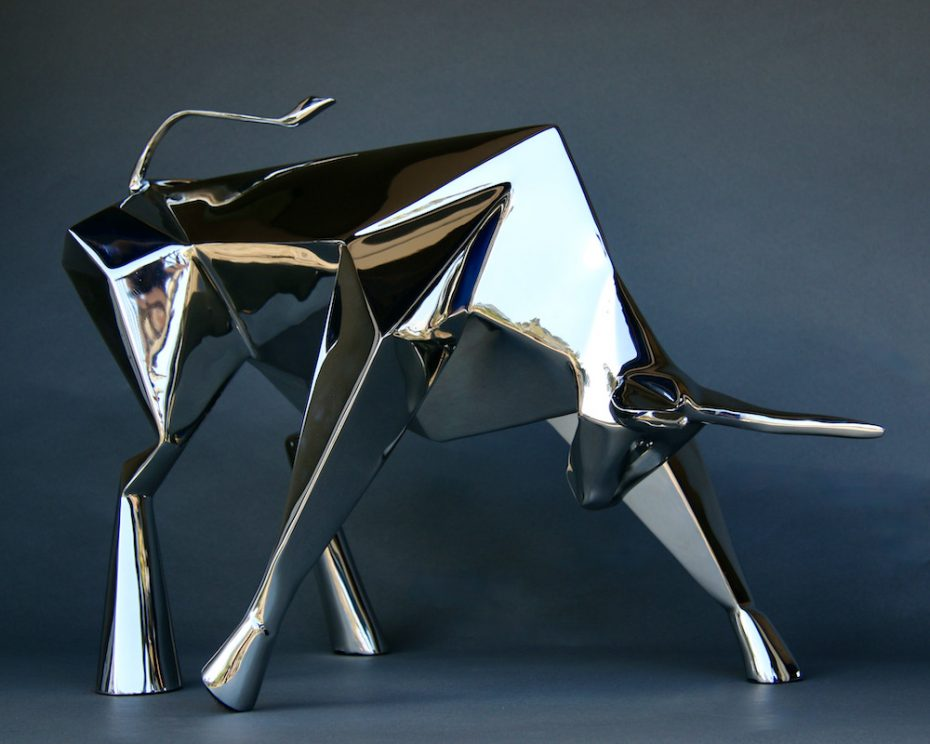 Contemporary art by Amos Robinson Spirit Bull sculpture stainless steel