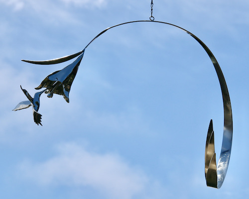 Kinetic art by Amos Robinson hummingbird mobile stainless steel contemporary art